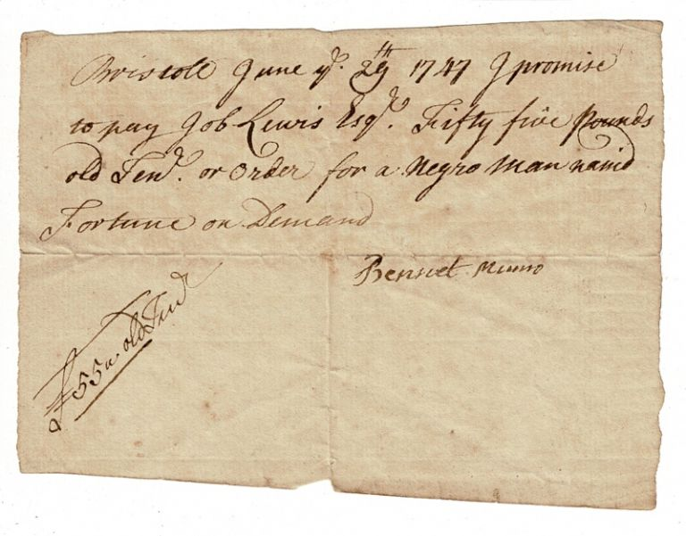 Promissory note for the purchase of a slave. Bennet Munro.