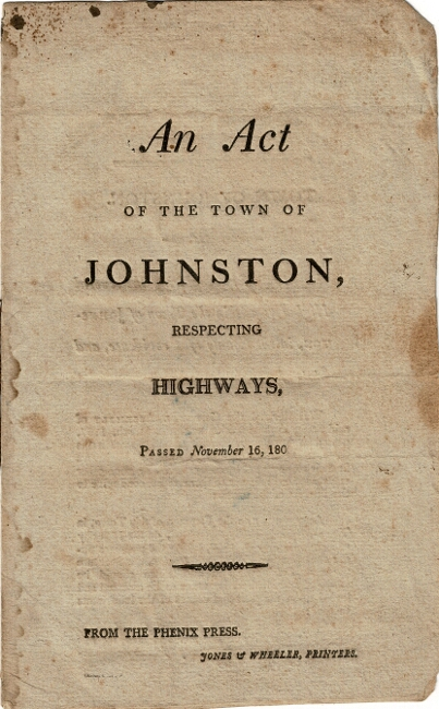 An act of the town of Johnston, respecting highways, passed November 16, 180[8]