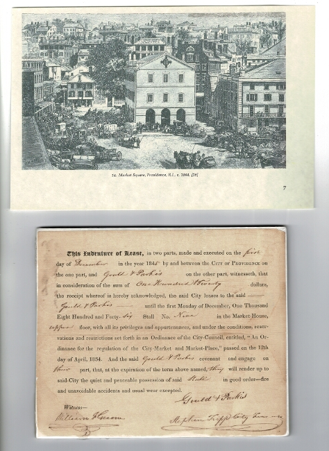 Indenture of lease between Gould & Parkis and the City of Providence for premises at Market Square