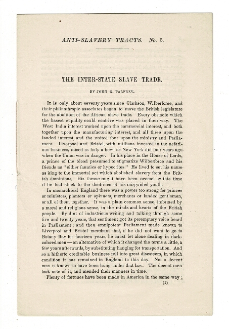 Anti-Slavery Tracts. No. 5. The inter-state slave trade [drop title]. John G. Palfrey.
