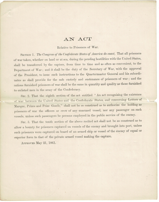 An act relative to prisoners of war [drop title]. Congress of the Confederate States of America.