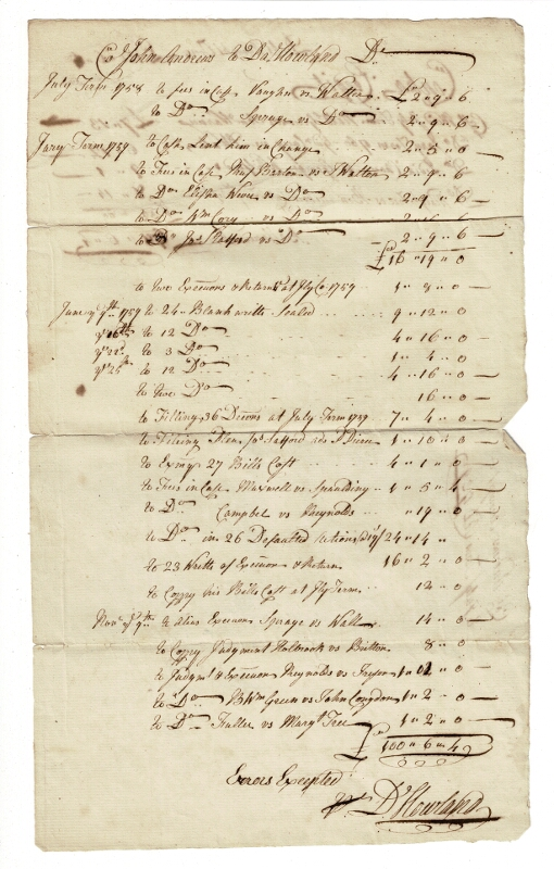 Collection of approximately 20 manuscript letters, invoices, receipts, relating to the two Howland brothers and others in the Rhode Island Quaker community. Thomas Howland, Daniel Howland.