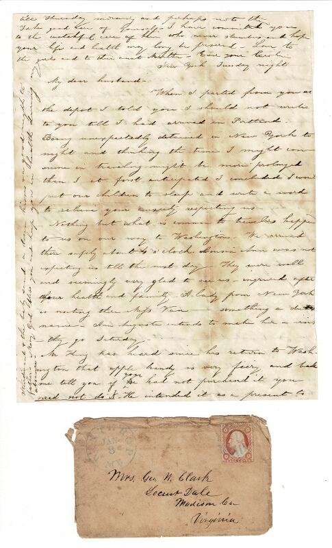2 manuscript letters on a woman's trip from Virginia to Maine. Caroline Clark.