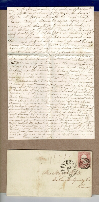 Collection of 44 letters to and from the Westcott Whites of Rhode Island, Cleveland, and Illinois. Jane White, and Abbey, Mary.
