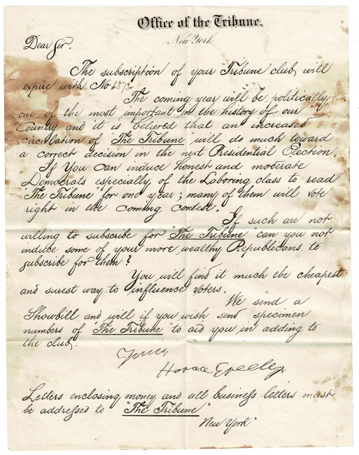 Offer of the Tribune. Horace Greeley.