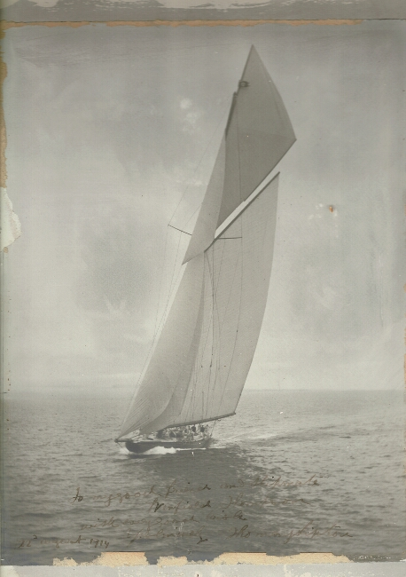 Photograph of the America's Cup contender, Shamrock IV, inscribed by Lipton. Thomas J. Lipton.