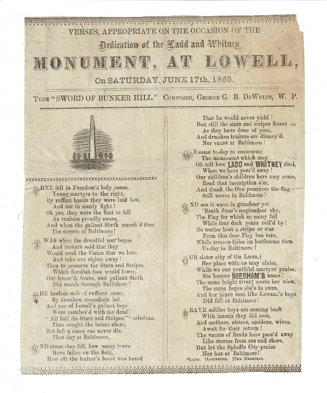 Verses, appropriate on the occasion of the dedication of the Ladd and Witney Monument, at Lowell, on Saturday, June 17th, 1865. George G. B. DeWolfe.