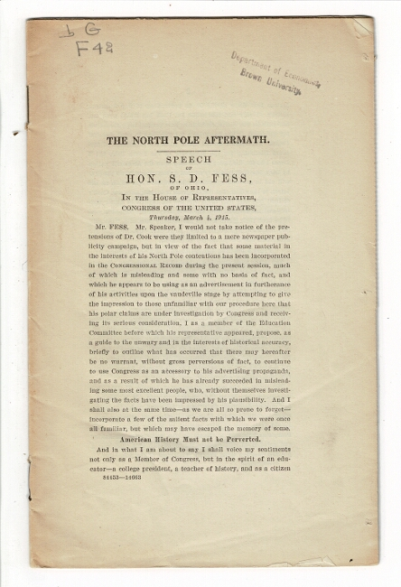 The North Pole aftermath: speech of Hon. D.S. Fess, of Ohio, in the House of Representatives, Congress of the United States, Thursday, March 4, 1915 [drop title]. S. D. Fess, Hon.