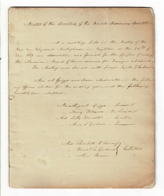 Minutes of the Secretary of the Female Missionary Association of the Congregational Church. Female Missionary Association.