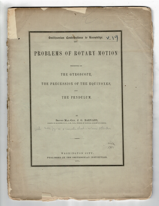 Problems of rotary motion presented by the gyroscope, the precession of the equinoxes, and the pendulum. J. G. Barnard.