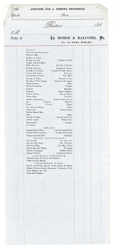 Articles for a fishing excursion. Yacht Boat Boston 186 .