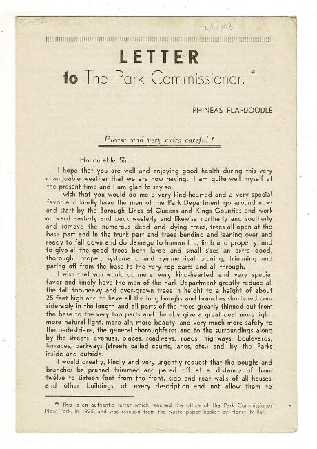 Letter to the Park Commissioner [drop title]. Henry Miller, Phineas Flapdoodle.