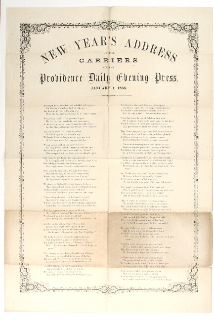 New Year's address of the carriers of the Providence Daily Evening Press January 1, 1866