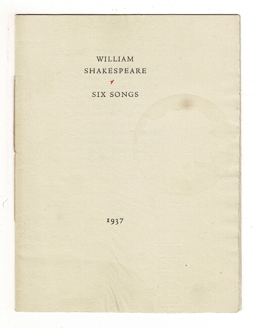 Six songs [cover title]. William Shakespeare.