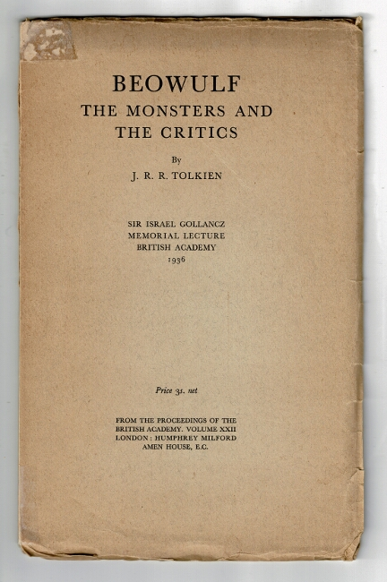 Beowulf: the monsters and the critics. Sir Israel Gollancz Memorial Lecture British Academy 1936. J. R. R. Tolkien.