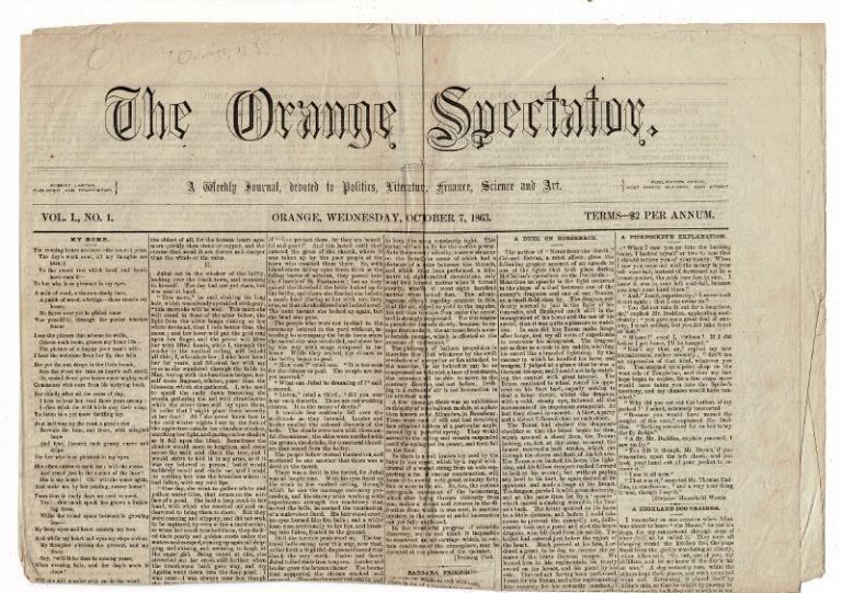 The Orange Spectator. A weekly journal devoted to politics, literature, finance, science and art. Volume I, no. 1