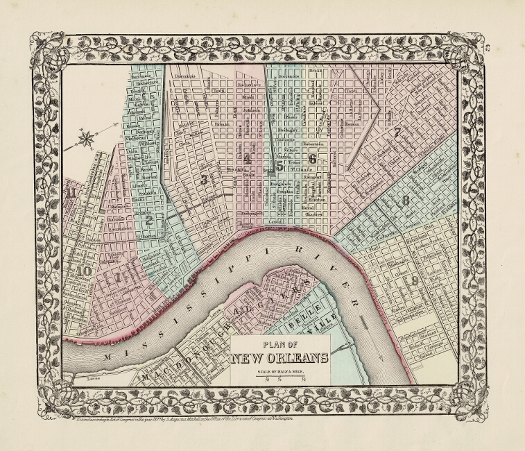 Plan of New Orleans. S. Augustus Mitchell.