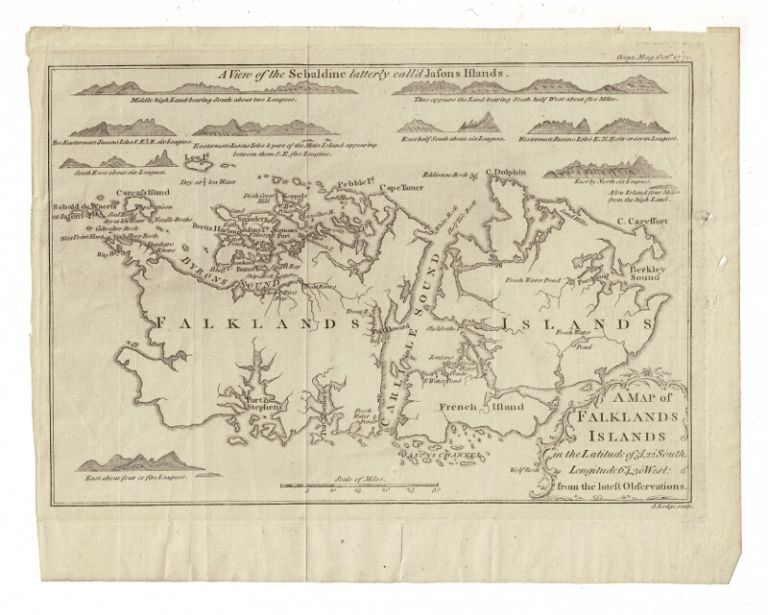 A map of the Falklands Islands in the latitude of 51o, 22' south, longitude 64o, 30' west from the latest observations