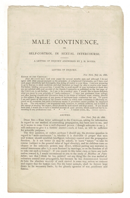 Male continence, or self-control in sexual intercourse. A letter of inquiry answered by J. H. Noyes. John Humphrey Noyes.