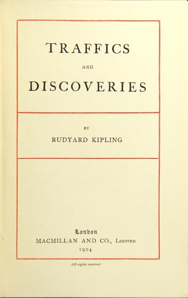 Traffic and discoveries. [With] First American edition. Rudyard Kipling.