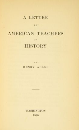 A letter to American teachers of history