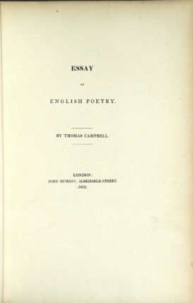 Essay on English poetry. Thomas Campbell.