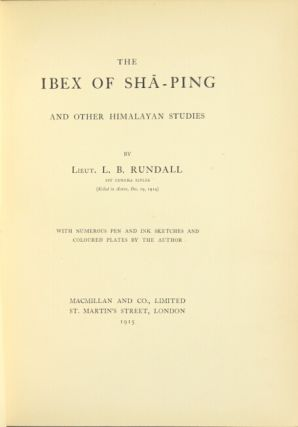 The ibex of Sha-Ping and other Himalayan studies. L. B. Rundall