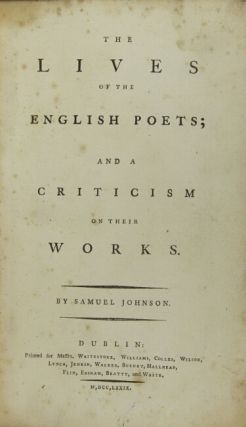 The lives of the English poets; and a criticism on their works.