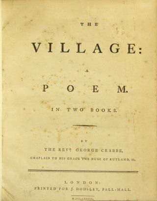 The village: a poem. In two books. GEORGE CRABBE, Rev