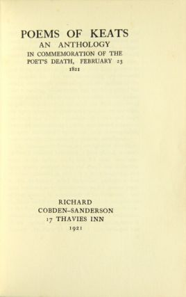 Poems of ... an anthology in commemoration of the poet's death, February 23 1821.