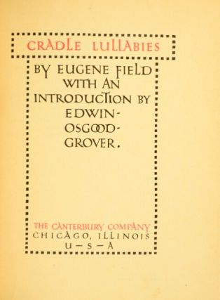 Cradle lullabies ... with an introduction by Edwin Osgood-Grover