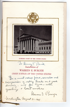 Installation of Warren E. Burger, Chief Justice of the United States [cover title]. Warren E. Burger.