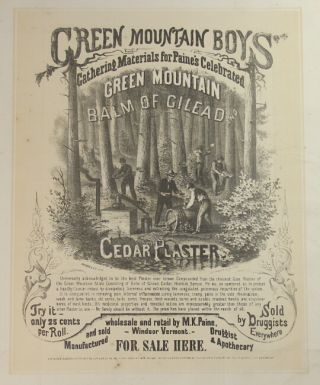 Green mountain boys gathering materials for Paine's celebrated Green Mountain Balm of Gilead and...