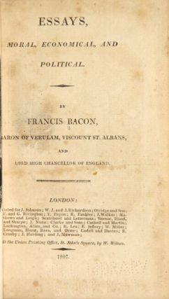 Essays, moral, economical, and political. Francis Bacon