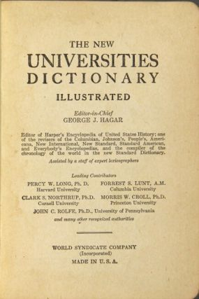 The new universities dictionary illustrated