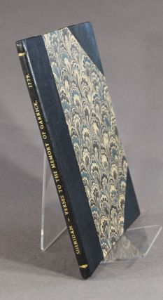 Verses to the memory of Garrick. Spoken as a monody at the Theatre Royal in Drury-Lane. The second edition
