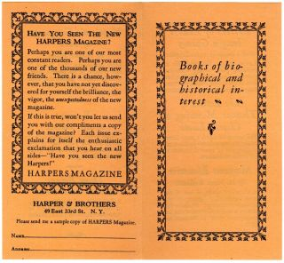 Books of biographical and historical interest [cover title]. Harper, Brothers.