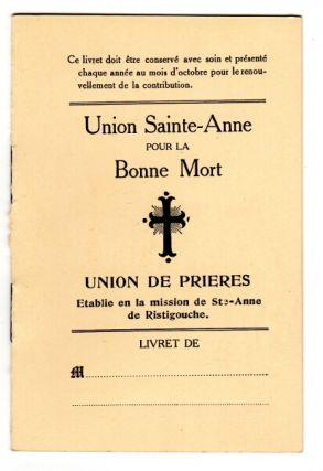 Union de Prieres etabile en la mission de Ste-Anne de Ristigouche [cover title]