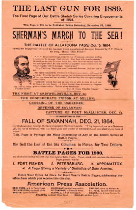 The last gun for 1889. The final page of our battle sketch series covering engagements of 1864...Sherman's march to the sea...culminating in the fall of Savannah. American Press Association.