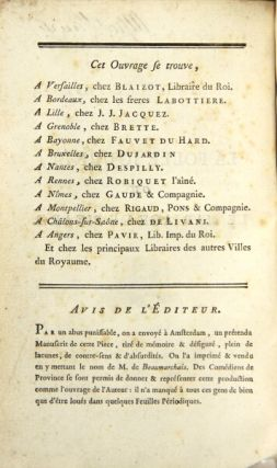 La folle journee ou le marriage de Figaro, comedie en cinq actes, en prose
