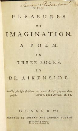 The pleasures of imagination. A poem. In three books. Aikenside Dr, Mark.