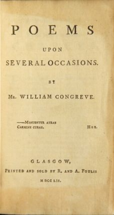 Poems upon several occasions. William Congreve.
