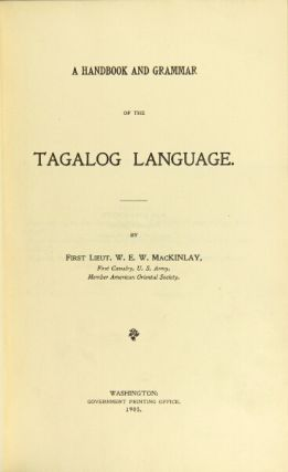 A handbook and grammar of the Tagalog language