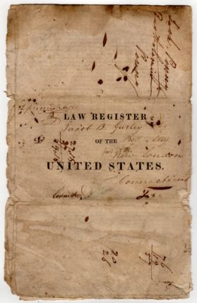 N. Jersey, Burlington, Nov. 23, 1822. Annual, Law Register of the United States. Vols. 3d. & 4th. for 1821,2. The editor informs the publick, that two volumes of this annual work, will soon be published