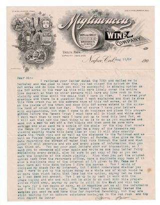 Series of five typed letters on Migliavacca Wine Co. stationery, all addressed to Mr. Al Duprey in Eureka, CA