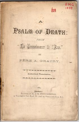 "A psalm of death: from ""La Connaissance de l'Ame"" ... Authorized translation"