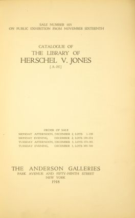 Catalogue of the library of Herschel V. Jones