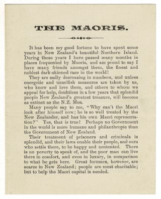 Irish Maori girls' help association [together with] The Maoris