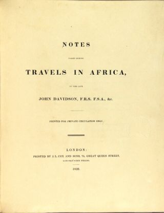Notes taken during travels in Africa