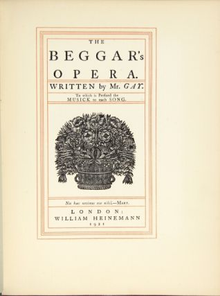 The beggar's opera ... To which is prefixed the musick to each song